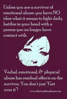 most times, you will need an actual therapist to get past this type of abuse, even if you cannot afford one and do not have insurance, there are wonderful therapists for abused men and women at most hospitals and at many local health centers.   Get in a group, you will be surprised at how helpful it is to speak with others that have gone through the same thing  Many understand, you are not alone.  Been there, done that.