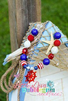 Ship Wheel Chunky Bubblegum Bead Necklace Photographer Prop Necklace Nautical Necklace
