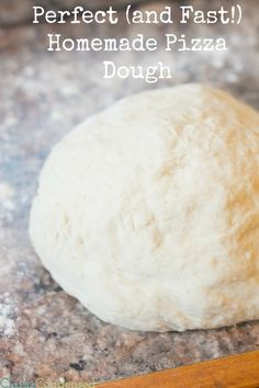 We LOVE homemade pizza, and this is the best homemade pizza dough recipe I've made. It comes up thick, yet still fluffy, and the flavor is amazing. Best of all, it's a quick dough recipe so you can have your pizza in the oven in no time!