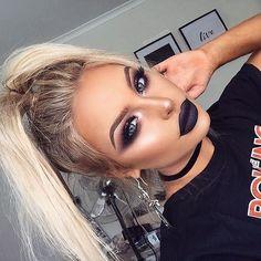 ♡ On Pinterest @ kitkatlovekesha ♡ ♡ Pin: Makeup ~ Eyebrows, Purple Eyeshadow, Long Lashes & Purple Lips ♡