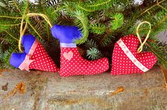 Set of 3 Cotton Christmas Ornaments / Cotton by ChristmasTreeWorld