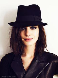 Anne Hathaway hair beautiful makeup black hair color anne hathaway hairstyle hair ideas hair cuts hair art