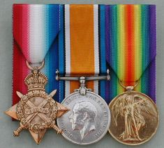 Pip, Squeak and Wilfred are the affectionate names given to the three WW1 campaign medals — The 1914 Star or 1914-15 Star, British War Medal and Victory Medal respectively.  My great uncle William Turner earned these - paying the ultimate sacrifice in Pozieres, France.