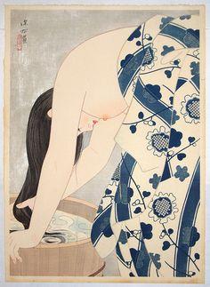 Woodblock print by Itō Shinsui — Washing The Hair (1953)