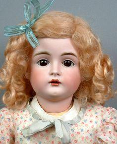 "Very Sweet 19"" Kestner 167 Antique Doll is PRETTY in Antique print dress! WOW!"