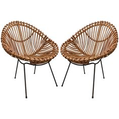 Pair of bamboo chairs in the style of Franco Albini | From a unique collection of antique and modern chairs at https://www.1stdibs.com/furniture/seating/chairs/