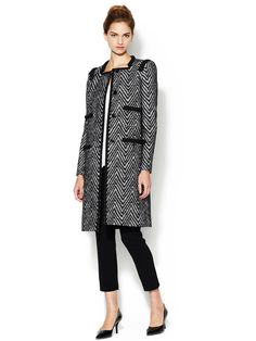 Zigzag Lace Overlay Coat by Peter Som
