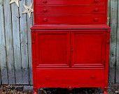 "La Boheme Collection ""Scarlet Begonias"" French Dresser Mirror. $800.00, via Etsy."