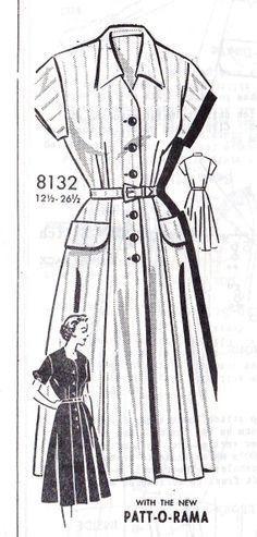 1950s Misses Half Size Shirt Dress Vintage Sewing Pattern, Patt-O-Rama Mail Order Pattern 8132 bust 39""