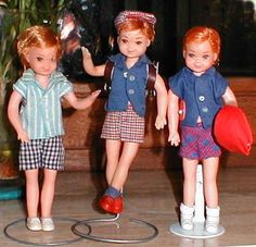 Three different Todd dolls that were sold in Europe. The one on the left has BROWN hair!