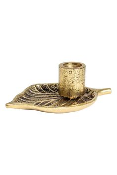 Leaf-shaped candlestick - Gold - Home All | H&M 1
