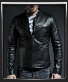 Cafe Racer  100% black Italian nappa leather jacket.