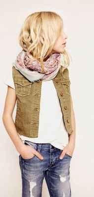 Vest, loose jeans, light scarf