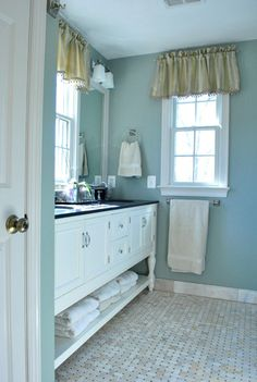 Best bathroom design ever! Master Bathroom Vanity - Pottery Barn Master Bathroom Tile - Carrara marble from the Tile Shop