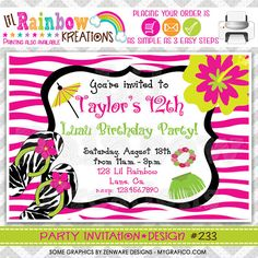 233 DIY Zebra Print Luau Party Invitation Or by LilRbwKreations