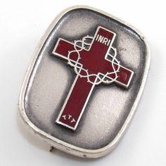 Vintage CTO Sterling Silver Red Enamel Cross INRI Pin Brooch
