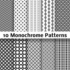 Monochrome different vector seamless patterns (tiling) vector art illustration