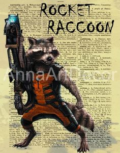 Raccoon Rocket Print/Guardians of the Galaxy Wall Art/Raccoon Retro Printing/Book Page/Dictionary Page Print/Quote Poster Quote Posters, Quote Prints, Wall Prints, Book Page Art, Book Pages, Frame Download, Rocket Raccoon, International Paper Sizes, Character Portraits