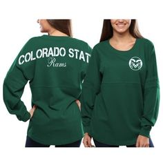 Colorado State Rams Women's Pom Pom Jersey Oversized Long Sleeve T-Shirt - Green