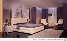 """Another purple bedroom with drapes from ceiling to wall, short shag area rug in white and a beautiful portrait above the headboard. One look at this modern bedroom will make you say nothing else but """"wow""""."""