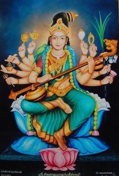 Saraswati goddess - Pictures of Goddess Lalitha – Saraswati goddess Saraswati Goddess, Indian Goddess, Mother Goddess, Goddess Lakshmi, Shiva Shakti, Durga Maa, Durga Images, Lakshmi Images, God Pictures