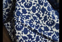 Indigo Blue hand block print cotton fabric in Scallop Pattern.These fabrics are prepared for printing through a natural bleaching process and printed using traditional natural dye recipes. This is...