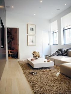 Make Your Room More Standout With These Gorgeous Rugs : Amusing CamelColores Shaggy Rug in Attractive Living Room Design with Glossy White Coffee Table and LShaped Tan Sofa also Wooden Floor and White Wall Painting
