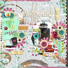 Caffeine by Mandy Ross.  Summer Memories 1 Templates by Tinci Designs. But First, Coffee! Collection by Cornelia Designs. Font: DJB Mandy R