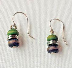 Aarikka Finland Vintage Earrings Black Green Wood Beads Dangle  #Aarikka #Beaded