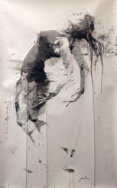 ewa hauton ink on paper L'art Du Portrait, Abstract Portrait, Dance Paintings, Modern Art Paintings, Abstract Pencil Drawings, Art Drawings, Ink Painting, Figure Painting, Figurative Kunst