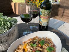 Pelee Island Winery Thaddeus Smith VQA South Islands 2017 with Patio Pasta. Pasta Cup, Penne Pasta, Roast Eggplant, Black Bean Burgers, Essex County, Stuffed Mushrooms, Stuffed Peppers, Mushroom And Onions, South Island