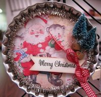 vintage Merry Christmas ornament  use old metal pie pan Make one for Dory @ Mary for christmas