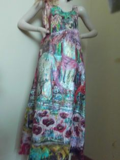 hand painted long dress made of 100% pure satin silk.To wash by hand.Size:M.   Shop this product here: spreesy.com/aminamarei/100   Shop all of our products at http://spreesy.com/aminamarei      Pinterest selling powered by Spreesy.com