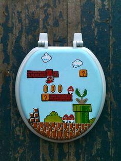 Mario Hand Painted Toilet Seat Nintendo Geekery by DebbieIsAdopted, $70.00