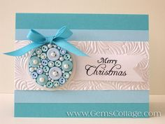 Buttons and Pearls Ornament Card by Gem35 - Cards and Paper Crafts at Splitcoaststampers