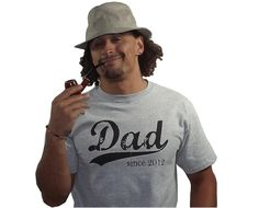Dad since (any year) - Personalized Dad Tshirt - New Dad Gift - Heather Grey - Men - Size Small. $28.75, via Etsy.