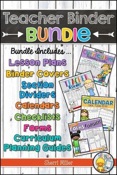 The completely customizable Teacher Binder Bundle includes everything you need to keep you organized! It includes templates for lesson plans, binder covers, section dividers, single and two page calendars, forms, checklists and curriculum planning.