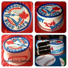 Toronto Blue Jays Birthday Cake Baseball Birthday Party, 4th Birthday Parties, 70th Birthday, Birthday Ideas, Cupcake Recipes, Cupcake Cakes, Sport Cakes, Custom Cakes, Themed Cakes