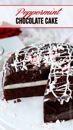 Peppermint Chocolate Cake -show stopping, company pleasing super moist chocolate cake with a layer of Peppermint Vanilla Buttercream Frosting and enveloped by silky chocolate ganache. #christmasdessert #chocolatecake #peppermint