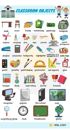 Learn English names of classroom objects, items that you can find in a classroom. This lesson is useful for ESL learners and English students to improve their classroom and school vocabulary in English. Learning English For Kids, Kids English, English Language Learning, Teaching English, French Language, Kids Learning, English Vocabulary Words, Learn English Words, English Lessons