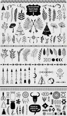 4543775178273 Hand Drawn design elements 100+ by lokko studio on Creative Market Hand  Tatto, Bullet