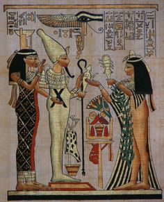 Ancient Egypt: Egyptian God Osiris and Goddesses Isis and Nephtys with Egyptian Princess