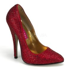 b33c291886 5 Spike Heel Rhinestone Pump - 5 Heel, Dramatic Arch Rhinestoned Pointy Toe  Pump - HALF SIZE SMALL - A great look and feel to go well with any outfi
