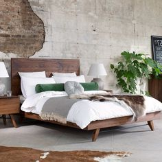 Furnish your home with beautiful pieces from Arighi Bianchi, a designer furniture store with luxury living, dining, bedroom furniture. Dark Wood Bed Frame, Oak Bed Frame, Wood Bed Frames, Dark Wood Bedroom Furniture, Lounge Furniture, Wooden Bedroom, Solid Oak Beds, Wood Beds, Decoration