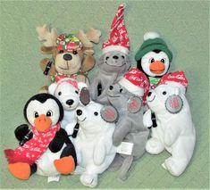 Vintage Coca Cola BEAN BAG Lot Plush Stuffed ANIMALS Penguin Polar Bear MOOSE + #CocaCola