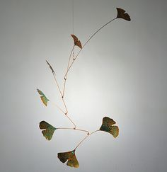 """Ginkgo Mobile with 7 Copper Leaves and Green Patina"" Metal Sculpture by Jay Jones"