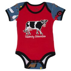 Buy Hatley Baby 'Udderly Adorable' Farm Print Romper, Red online at John Lewis