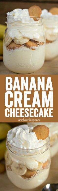 No Bake Banana Cream Cheesecake - a delicious no-fuss, easy dessert that will have you enjoying your favorite Banana Cream Pie flavors in just minutes! ( try using vanilla pudding instead of banana cream) 13 Desserts, Sugar Free Desserts, Sugar Free Recipes, Sweet Recipes, Delicious Desserts, Yummy Food, Banana Recipes No Bake, Easy Cream Cheese Desserts, Cool Whip Desserts