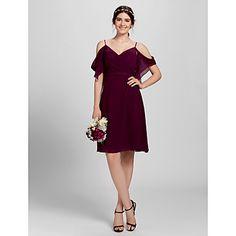 Lanting+Bride®+Knee-length+Chiffon+Bridesmaid+Dress+A-line+Spaghetti+Straps+Plus+Size+/+Petite+with+Criss+Cross+–+USD+$+129.99