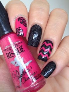 Pink and Black Chevrons
